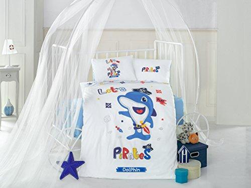 Dolphin Bleu Lit Bébé Housse de couette de lit, 100% coton doux et Sain Parure de lit 4 pièces