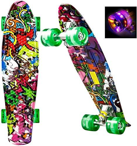 Complete Skateboard tabla de patinar, retroceso doble capa 7 trucos de arce canadiense de madera adultas del tablero del patín for el principiante, regalo de cumpleaños for adultos cuentos for niños m