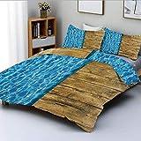 Juego de funda nórdica, Summer House Seem Piscina con madera Seem Deck Imagen decorativa Juego de cama decorativo de 3 piezas con 2 fundas de almohada, azul oscuro, blanco y marrón caramelo, Best G Ea