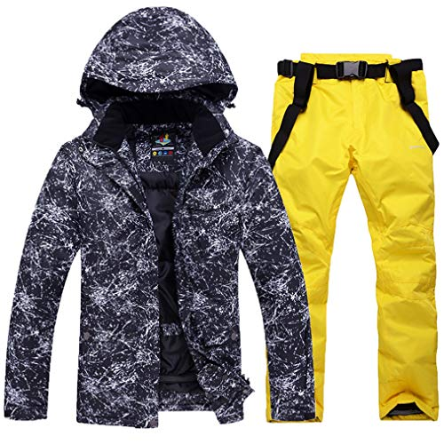 Skijacken und Hosen Set für Damen und Herren Hohe Winddicht Wasserdicht Schneeanzug Snowboard & Skianzug Skiausrüstung Ski-Outfit Snowboard Skianzug Hose Geeignet für Snowboarden Gr. XL, schwarz 1