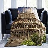 KIMDFACE Manta de Franela Suave,Foro Coliseo de Color Azul Roma Italia Parques Flavios Coliseo Rojo Anfiteatro Romano Romano Empire Field,Cama de Camping para sofá 153x127cm