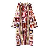 WATERMELON Chaquetas de Punto for Mujeres patrón de Ganchillo Hecho a Mano con Capucha Cuadrado de Cielo Abierto del suéter del Color del otoño y la Capa del Invierno Largo