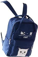 Women Girls Japanese And Korean Style Bags Kawaii Cat Canvas School Backpack (Deep Blue)