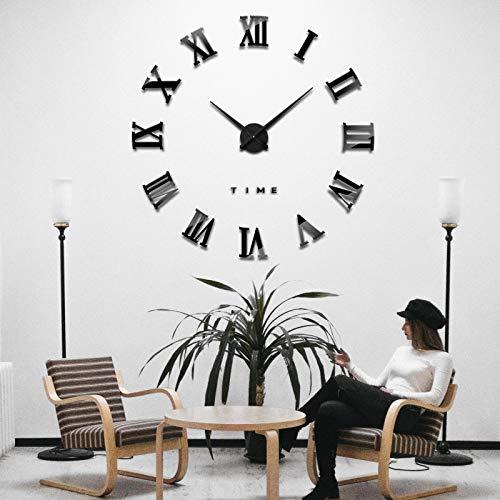 iKALULA DIY 3D Wanduhren, DIY Wanduhr Modern Design Acryl Wanduhren Wandtattoos Dekoration Uhren DIY Aufkleber Wanduhr für Dekoration Geschenk Nach Hause, Restaurant, Büro und Hotel - Schwarz