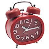 EASEHOME Sveglia a Doppia Campana, Retro Sveglia Silenziosa da Comodino Orologio Sveglia Metallo di Quarzo Analogico 3 Pollici Sveglia Batteria da Viaggio con Luce Notturna e Allarme Forte, Rosso