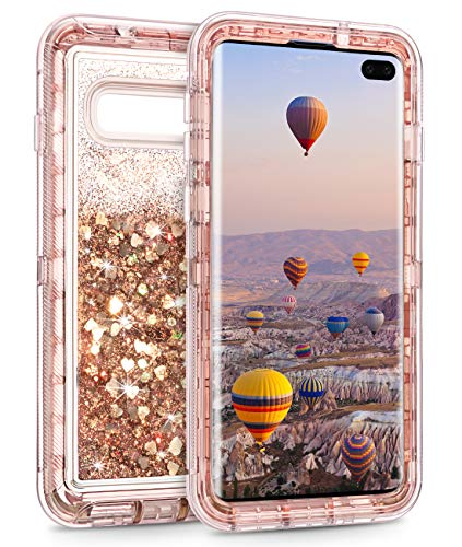Coolden Case for Galaxy S10 Plus Cases Protective Glitter Case for Women Girls Cute Bling Sparkle Quicksand Heavy Duty Cover Hard Shell Shockproof TPU Case for Samsung Galaxy S10 Plus, Rose Gold