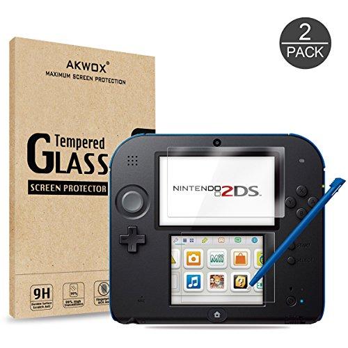 Preisvergleich Produktbild Akwox Schutzfolie für Nintendo 2DS 9H Härtegrad Panzerfolie Displayschutz Glasfolie Stoßfest Kratzfest HD