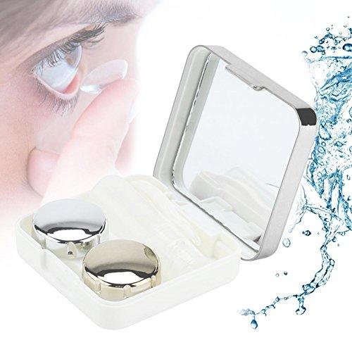 Kontaktlinsenbehälter, Reflektierende Abdeckung Kontaktlinsen-Etui Set Cute Lovely Travel Kit Box(Silber)