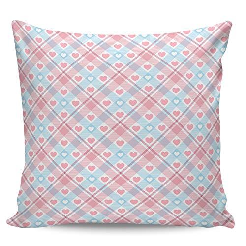 Scrummy Fundas de almohada de 60,96 x 60,96 cm, diseño de cuadros de búfalo, color rosa, rosa, azul, rosa, para decoración del hogar