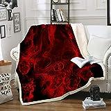 Red Skull Blanket Comfort WarmthSoftCozyAirConditioningMachine Wash BlackandWhite RoseSkullSherpaFleeceBlanket(Throw60'x80') (Red Skull)