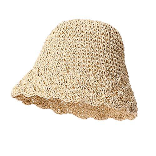 Geekcook Unisex Gorra de,Sombrero para el Sol para Mujer Sombrero de Playa de Verano de ala Ancha Grande Sombrero de Paja para Mujer Alto 2020 Sombrero de Viaje con protección Ultravioleta Be