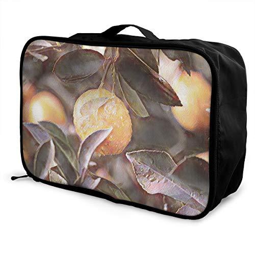 N/B faltbare Reisetasche, modisch, leicht, große Kapazität, tragbare Gepäcktasche (gelb, limette mit grünen Blättern), 38,1 x 15,2 x 27,9 cm