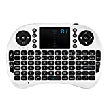 Rii i8 Mini Bluetooth Keyboard with Touchpad&QWERTY Keyboard, Portable Wireless Keyboard with Remote Control for Smartphones/Laptop/PC/Tablets/Windows/Mac/TV/Xbox/PS3/Raspberry Pi .Silver White