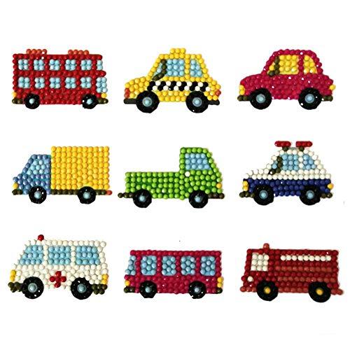 Runshiwan DIY Full Drill Round Cartoon Cars Diamond Painting Puzzle Children Sticker