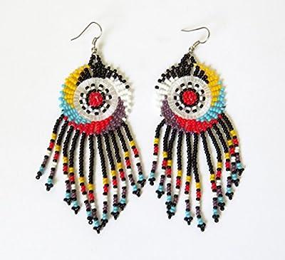 """Boucles d'oreilles Dreamcatcher """"attrape rêve"""" en perles Sud Africain Zoulou - Noir et multicolore"""
