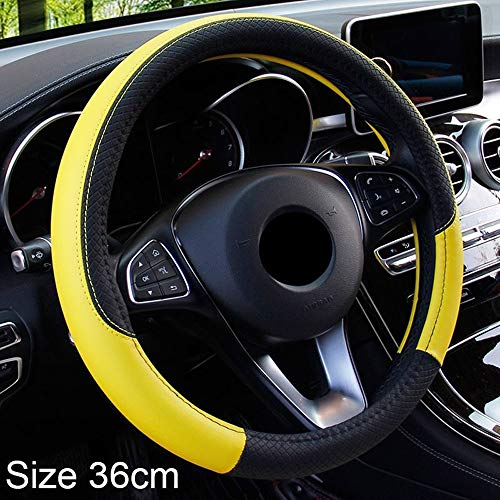 Auto Steering Wheel Cover Plein Embossing Non-slip for H-o-n-d-a C-i-v-i-c Auto 36cm Interieur Accessoires (Color : Yellow, Size : FREE)