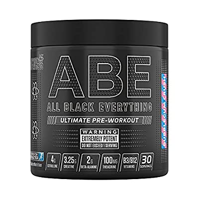 Applied Nutrition ABE All Black Everything Pre Workout Powder Energy, Physical Performance with Citrulline, Creatine, Beta Alanine, Caffeine, VIT B Complex, 315g, 30 Servings (Bubblegum Crush)