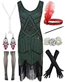 Women Plus Size 1920s Gatsby Sequin Fringed Paisley Flapper Dress with 20s Accessories Set (3XL, Green) (Apparel)