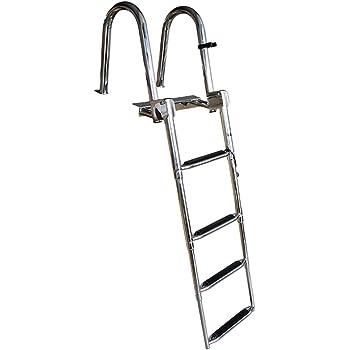 Escalera telescópica Escalera De Cubierta De Barco De Pontón De Acero Inoxidable Premium De 4 Pasos, Escalera De Acoplamiento Telescópica Plegable para Piscina De Muelle De Yates, Capacidad De 550 LB: Amazon.es: