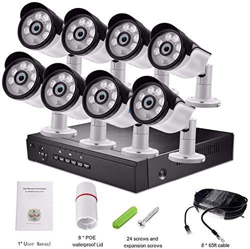 Minikameras Outdoor-Überwachungskamera 4-Kanal / 8-Kanal CCTV-System, Poe, Nvr Kit, Home Security-3MP 8Ch Kit DDLS (Color : 4mp 8ch Kit+2tb HDD)