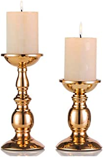 Nuptio Gold 2 Pcs Iron Pillar Candle Holders, Gold Candlestick Most Ideal for 3