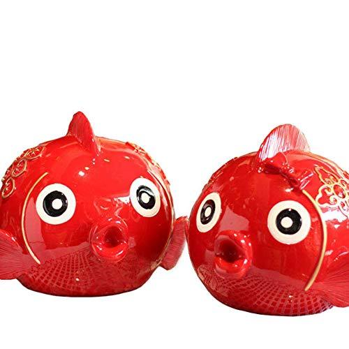 ZXZMONG Figuras Estatuas Decoracion,Beso Rojo Par De Peces En Peces Adornos Moneda Hucha