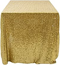 Koyal Wholesale 405003 Rectangle Sequin Tablecloth, 90 by 156-Inch, Gold