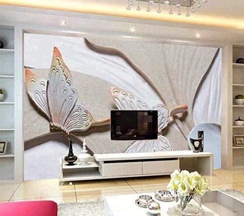 Lovemq Fototapete 3D Effekt Tapete Schmetterlingsrelief Einfach Vliestapete 3D Fototapeten Wanddeko Wandbilder Wohnzimme-400X280Cm