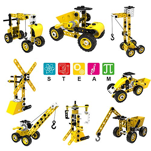 GeemakerStar STEM Erector Set Robot Toy Building Sets,8 in 1 Engineering Blocks Toys 100 Pcs Educational Construction Kits Birthday Gift for 5-6-8-10-12 Year Old Boy and Girl Kids