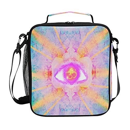 Bolsa de almuerzo abstracta étnica con estampado de ojos de cristal, aislado, portátil, correa para el hombro, bolsa enfriadora para niños, niñas, mujeres y hombres