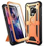 YOUMAKER Designed for Galaxy S9 Case, Heavy Duty Protection Kickstand with Built-in Screen Protector Shockproof Case Cover for Samsung Galaxy S9 5.8 inch - Orange