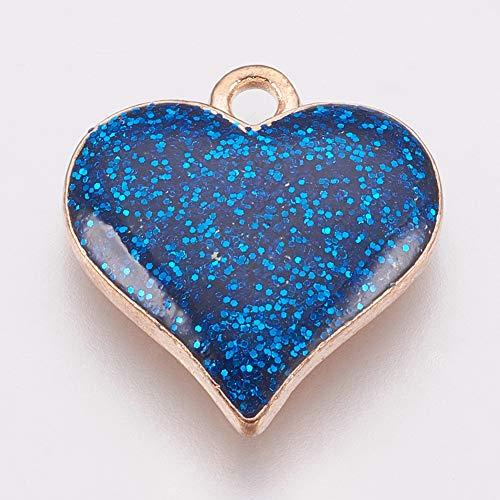 Beadthoven - 5 colgantes de corazón esmaltados chapados en oro con purpurina azul para joyería, pendientes, pulseras, collares, gargantillas, regalos de boda, 17 x 15,5 mm