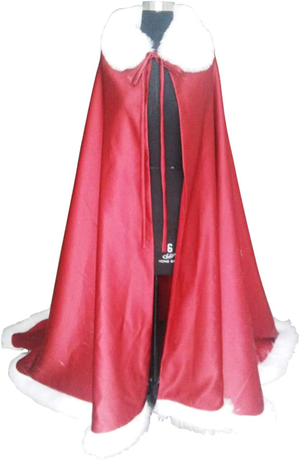 COUCOU Age Wedding Cape Cloak with Faux Fur Collar for Princess Bride Winter Coat Long