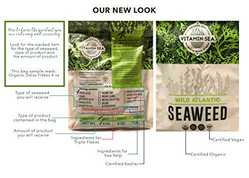 Vitaminsea Organico Kombu Foglia Intero - Borsa di Alghe Marine da 112 G - USDA e Vegan Certificato - Kosher - Raccolto a Mano e Seccato al sole - Raccolto Lungo la Costa dell'Oceano Atlantico (WL 4)