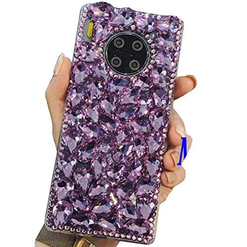 Beautyfull Funda para Huawei 2017 Y7 Prime/Nova Lite+/Honor7 Plus/Ascend XT2, manual con diamantes completos de cristal Bling Queen, DANGE artificial Noble Shell Phone Case para Huawei Y7 Púrpura