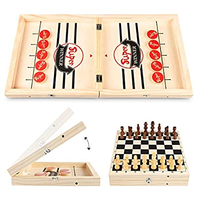 DODENSHA Fast Sling Puck Game & Chess 2 in 1 Set Foldable, Table Desktop Battle, Wooden Hockey Game for Kids Adults Foosball Slingshot Games Toys, Winner Chess Board Game for Family Party Parent-Child
