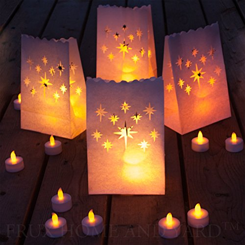 Frux Home and Yard 24 Flameless Tea Lights Yellow Flickering LED Tealight Candles with Warm Realistic Light - Electric Tealights with Batteries & 12 Bonus Luminary Bags Included
