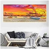 アートパネル ZAJFBH 日没時間風景ポスターキャンバス絵画ヨットポスターとプリント壁の写真リビングルームデコフレームレスのクアドロス 27.6x55.1in(70x140cm)x1pcs フレームなし フレームなし