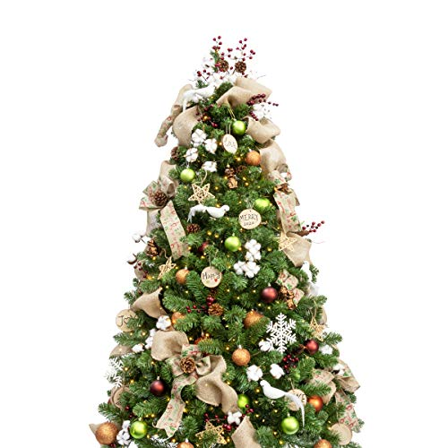 Busybee 6ft Christmas Tree with 240 LEDs Lights and 135pcs Ornaments Woodland Christmas Decorations including Full Artificial Christmas Tree Balls Ornaments USB LED String Lights