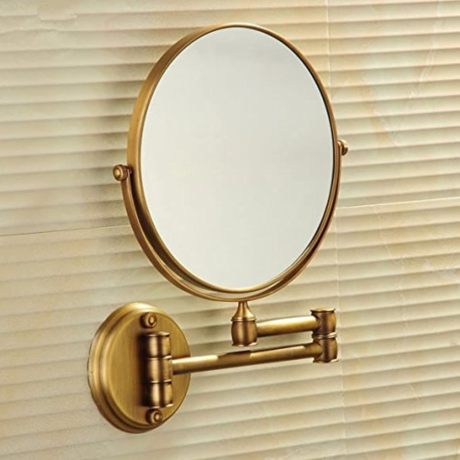 European antique beauty mirror wall mirror double-sided dressing mirror toilet telescopic mirror bathroom magnifying glass-8 inch Antique color