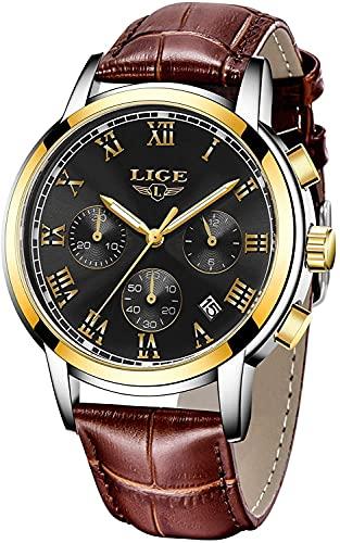 QHG Relojes para Hombre Vestido de Negocios a Prueba de Agua Reloj de Cuarzo analógico Hombres Marca de Lujo Lige Fecha Deporte Cuero marrón Reloj de Cuero (Color : Gold Black)