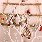 PINPOXE Adornos navideños, Colgantes para árboles de Navidad, Adornos para árboles de Navidad, Decoración navideña de Bricolaje, álbumes de Recortes de Madera Alce de Madera Copo de Nieve