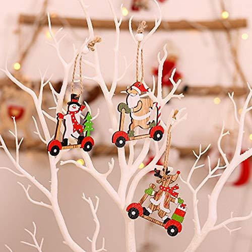 PINPOXE Decorazioni Natalizie, Addobbi per Albero di Natale, Ciondoli Natalizi, Decorazioni Natalizie Fai-da-Te, Legno Scrapbooking fette di Legno Albero di Natale Fiocco di Neve di Alce di Legno