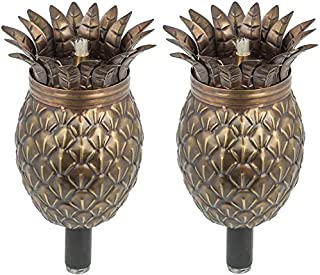 Legends Maui Tiki Style Torch Set of 2, Landscape Torch, Oil lamp, Outdoor Lighting (Bronze Pineapple)