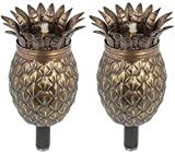 "Pineapple Outdoor Tiki Style Torch - Landscape Oil Lamp Includes 3-Piece 54"" Black Steel Pole for Easy Set Up - 32oz Bowl with Fiberglass Wick Burns for Over 15h! 2 Pack"