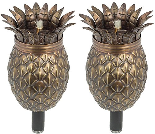 """Pineapple Outdoor Tiki Style Torch - Landscape Oil Lamp Includes 3-Piece 54"""" Black Steel Pole for Easy Set Up - 32oz Bowl with Fiberglass Wick Burns for Over 15h! 2 Pack"""