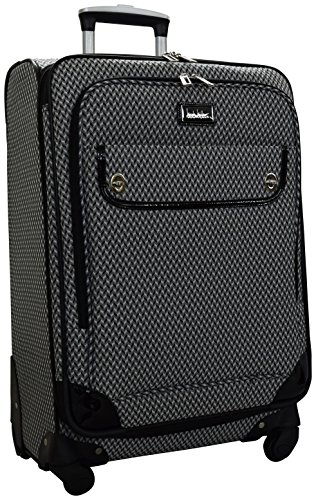 Nicole Miller Designer Luggage Collection - Expandable 24 Inch Softside Bag - Durable Mid-sized Lightweight Checked Suitcase with 4-Rolling Spinner Wheels (Silver/Black)