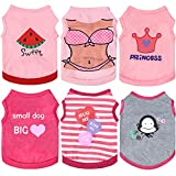 6 Pieces Dog Shirt Summer Puppy Sweatshirt Pet Sleeveless Vest Girl Dog Clothes Doggy Female Apparel for Small to Medium Dogs Puppy Cat (Large)