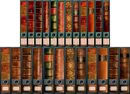 """File Art - Ordnerrücken Design Etiketten - Motiv \""""Folio\"""" für 12 breite + 12 schmale Aktenordner als Kollektion FA-AJ311+312+313+609+610"""