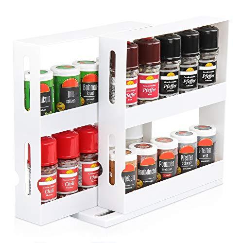 KREHMANN Gewürzregal Version 2.0, effizienter Gewürzhalter für den Küchenschrank I Schwenk- und ausziehbar (Weiß)